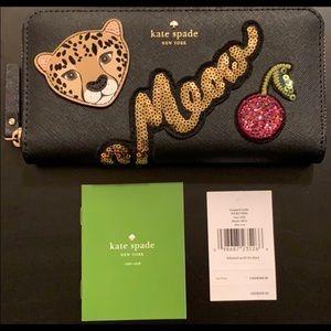 Kate Spade Leopard Neda Wallet Run Wild MSRP $229